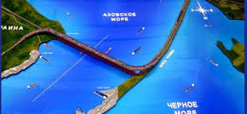 The Crimean Kerch Strait Bridge construction from Taman to Kerch new video