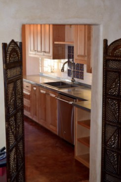 Custom Alder Wood Kitchen with Zinc Counters.