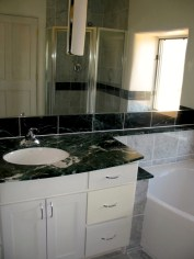 Master Bathroom vanity with granite counter top.