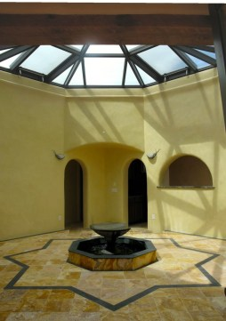 Atrium with fountain.