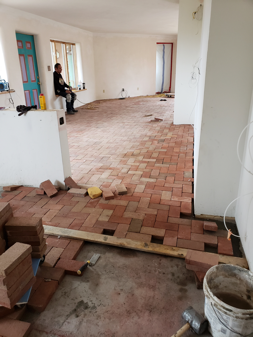 New brick floor over new slab and radiant heat