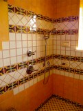 Custom tile in Guest House bathroom.