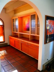 "Custom made Mahogany and Maple buffet in Dining Room. ""Rain Glass"" Maple doors on upper cabinet."