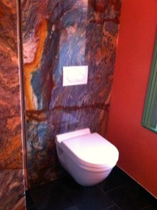 """Wall mounted toilet. """"Blue Louise"""" granite wall."""
