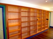 Bookcases made with Maple veneer plywood and solid Spanish Cedar trim.