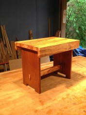 "Side table made with ""flame""oak legs culled from the house and a Spalted Maple top."