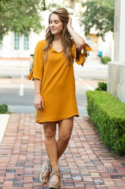 EY mustard short sleeves shift dress with elbow ties tampa florida-1-3