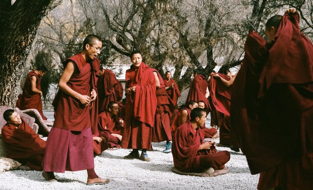 Tibetan Monks in a remote monastery