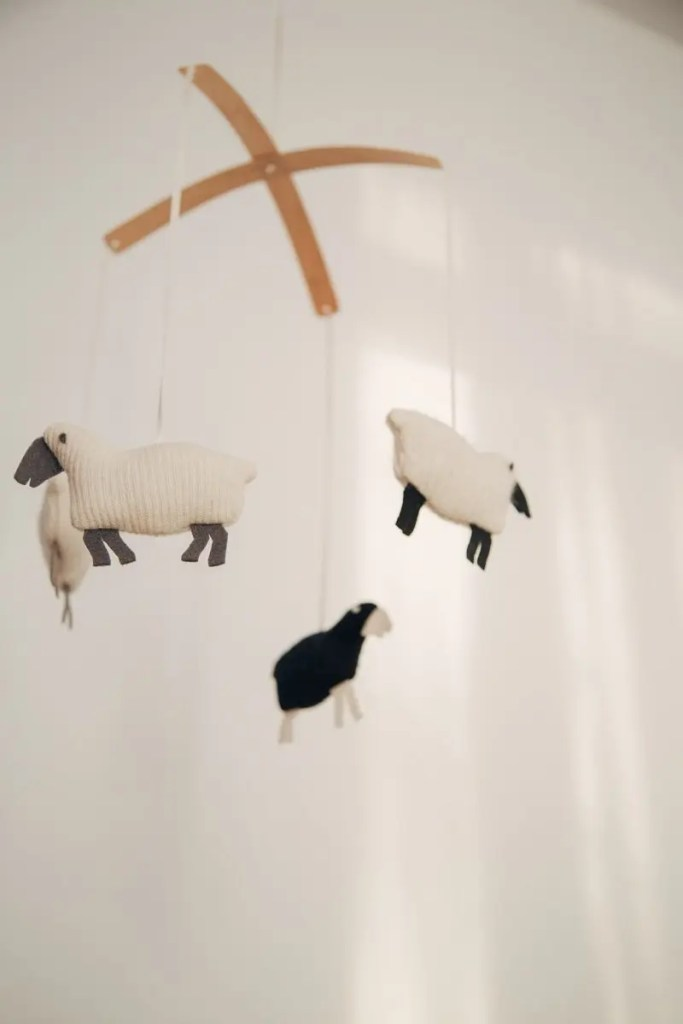 Simple animals hanging over the crib don't identify to one gender