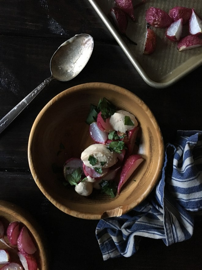 radish recipes, roasted radishes, garlic aioli, personal chef, caterer, Nashville TN, food photography, vsco photos