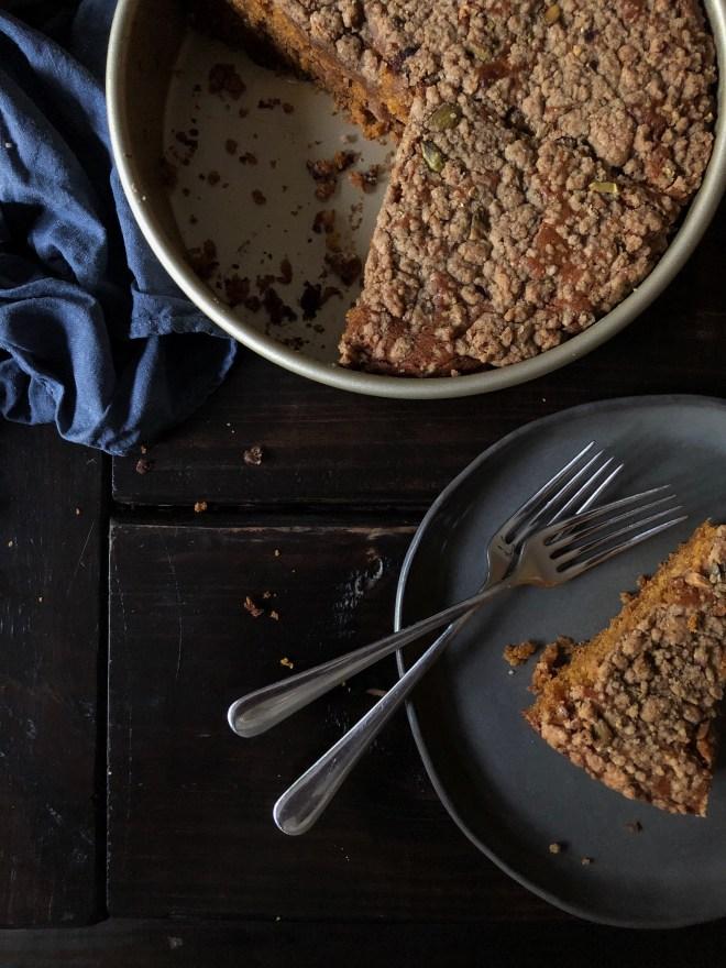Vegan Pumpkin Cake w/ Pistachio Streusel