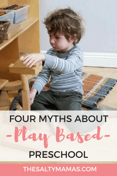 Considering a play-based education for your kids, but worried they won't learn anything? Check out these four myths about play based preschool! #playbasedpreschool #reggio #reggioemilio #reggiopreschool #outdoorplay #reggioinspired #reggiokids #reggiochildren #reggioemiliainspired #reggioactivities #reggiopreschool #reggiotime #reggiotoddlers #preschool #preschooler #preschoollife #toddlerlife #preschoolmom #preschoolactivities