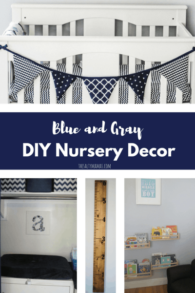 blue and gray nursery, diy wall art