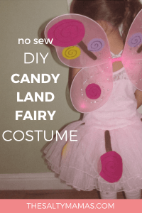 This super-easy DIY Candyland Fairy Halloween costume will have your kids looking like the real deal this Halloween! Get a step-by-step tutorial at TheSaltyMamas.com. #DIYCostumes #DIYkidscostumes #DIYhalloweencostumes #kidshalloweencostumes #nosewhalloweencostumes #nosewcostumes