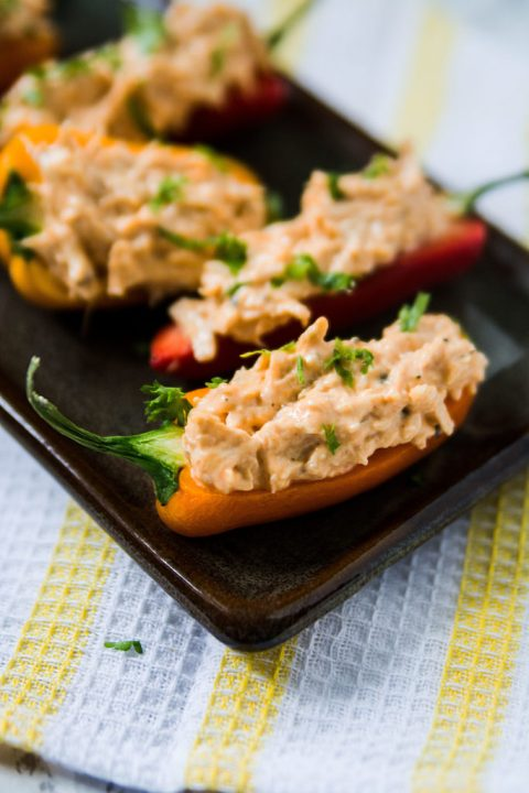 Sweet pepper buffalo chicken appetizer