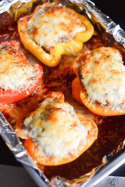 sausage stuffed peppers with parmesan cheese