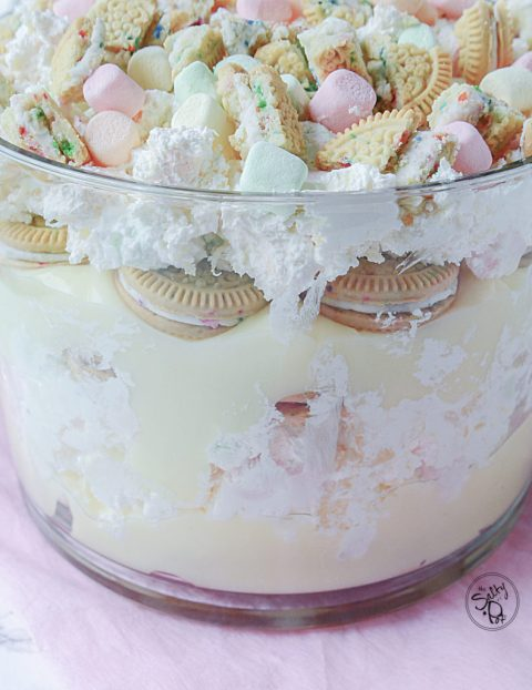marshmallow birthday cookie trifle dessert recipe. Yay for no bake desserts