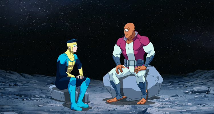 Invincible and Allen the Alien sit on the moon