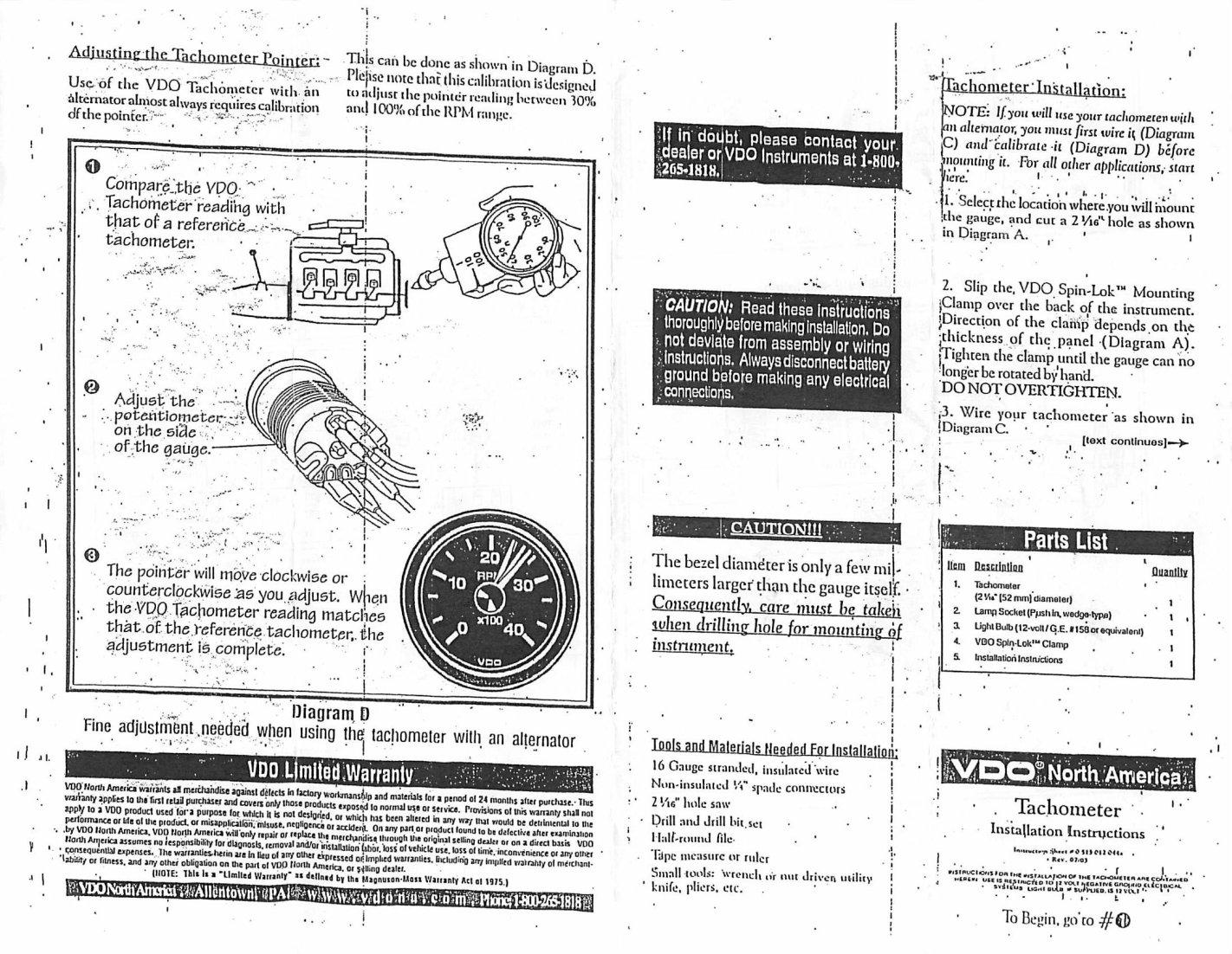 Smiths Tachometer Diagram