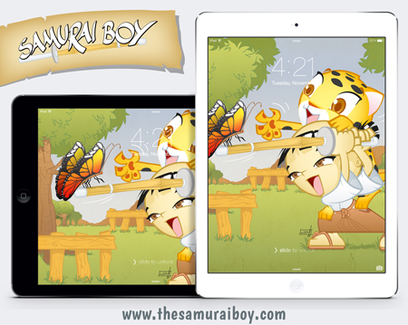 Samurai Boy iPad and iPad mini free wallpaper, by Dan Arrows