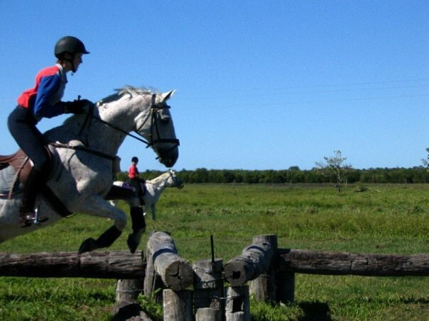 Andrea enjoying some cross country training with her horse Gilbert