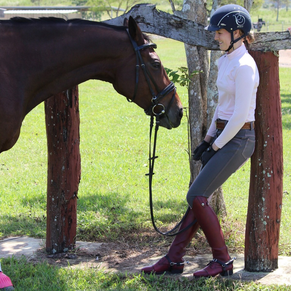 Andrea wearing the Celeris short boots and made to measure gaiters in bordeaux