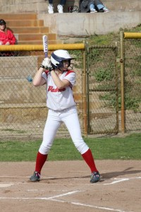 Senior Brittany File gets ready to bat PHOTO BY FILE
