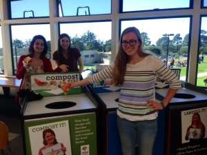 Senior Jenny Verheul in the cafeteria with the help of the Environmental Club.