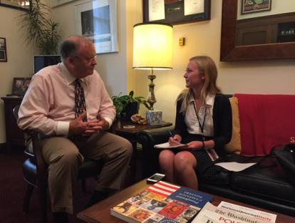 Sandpiper co-editor Delaney King interviews congressman Farr (left) in his Washington, D.C., office this past summer.