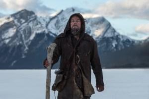 Leonardo DiCaprio stares pensively into the distance.