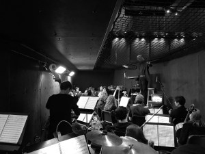 """The 30 student pit orchestra warms up before their second to last performance of the 2016 spring musical """"How to Succeed in Business Without Really Trying."""""""