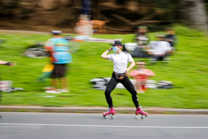 A roller-skater in Golden Gate Park