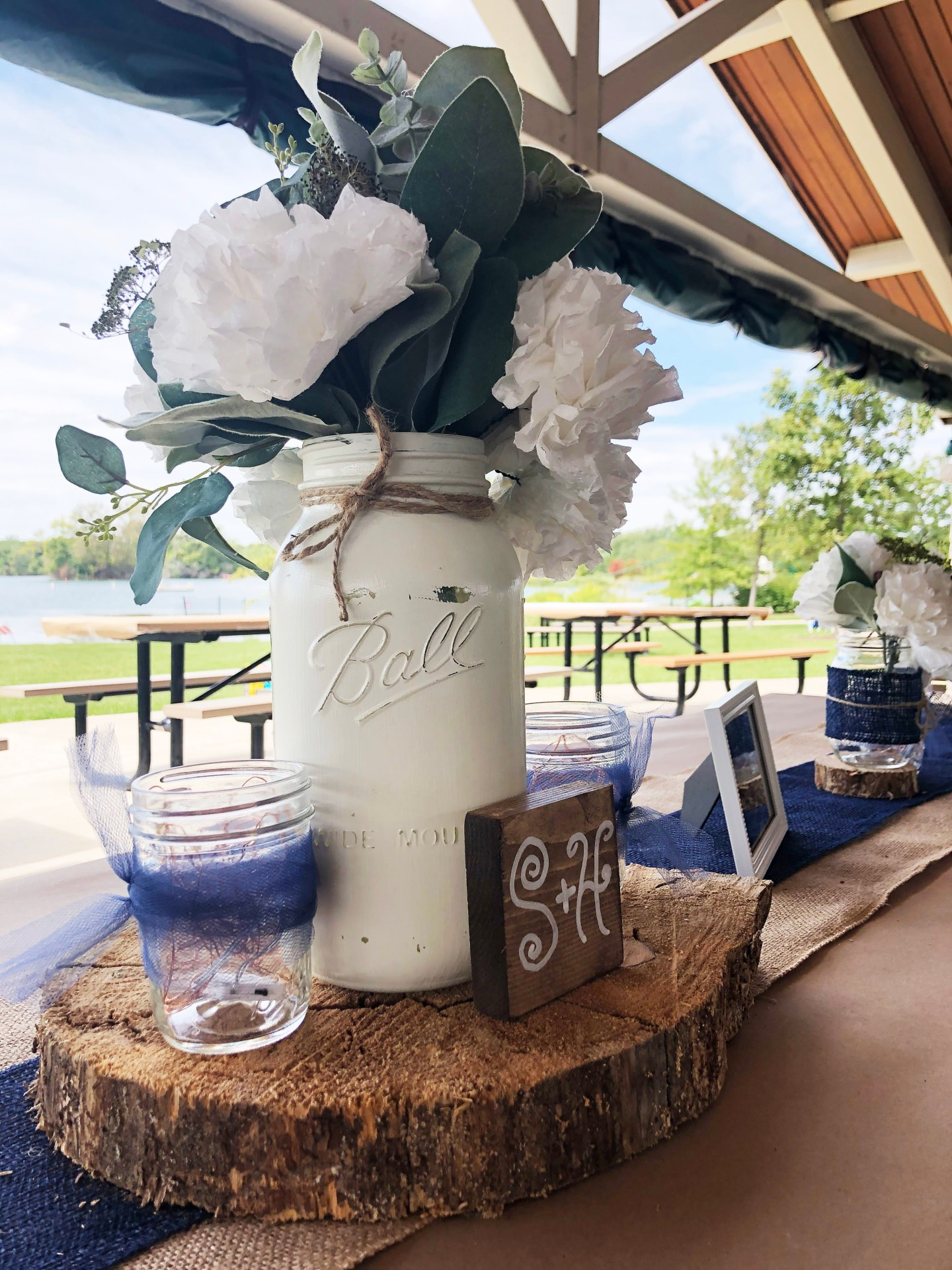 Rustic Chic Wedding Decorations by Purple Coneflower Designs