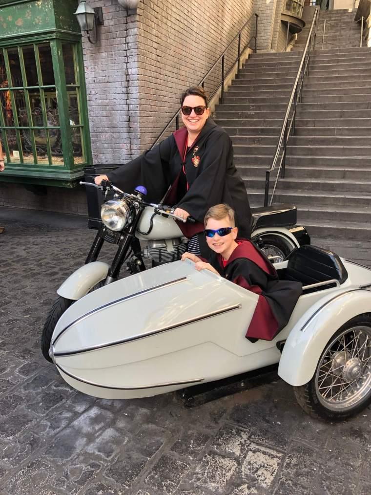 Brock and I on Hagrid's motorbike.