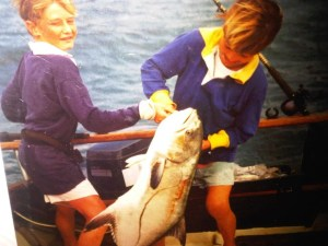 Tagging and releasing garrick off Umzimkulu River mouth in 1987