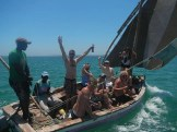 Cruising the Inhambane Estuary on a dhow. Inhambane Accommodation and trips and activities can be arranged by The Sardine Team