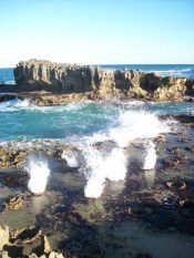 Blowholes at the paradisical beach on the south side of the point