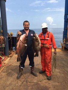 The Cuberra Snappers in Angola get huge too. The fish on the left, well it's a baby.