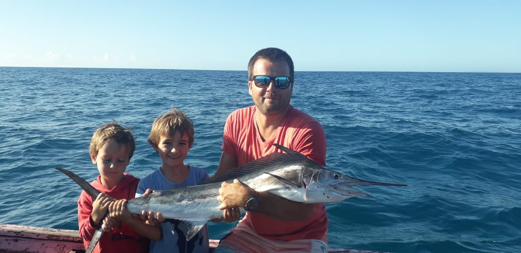 Duarte Rato Jnr and his very first Mozambique Marlin caught during Lockdown 2020 out off the Bazaruto inshore waters