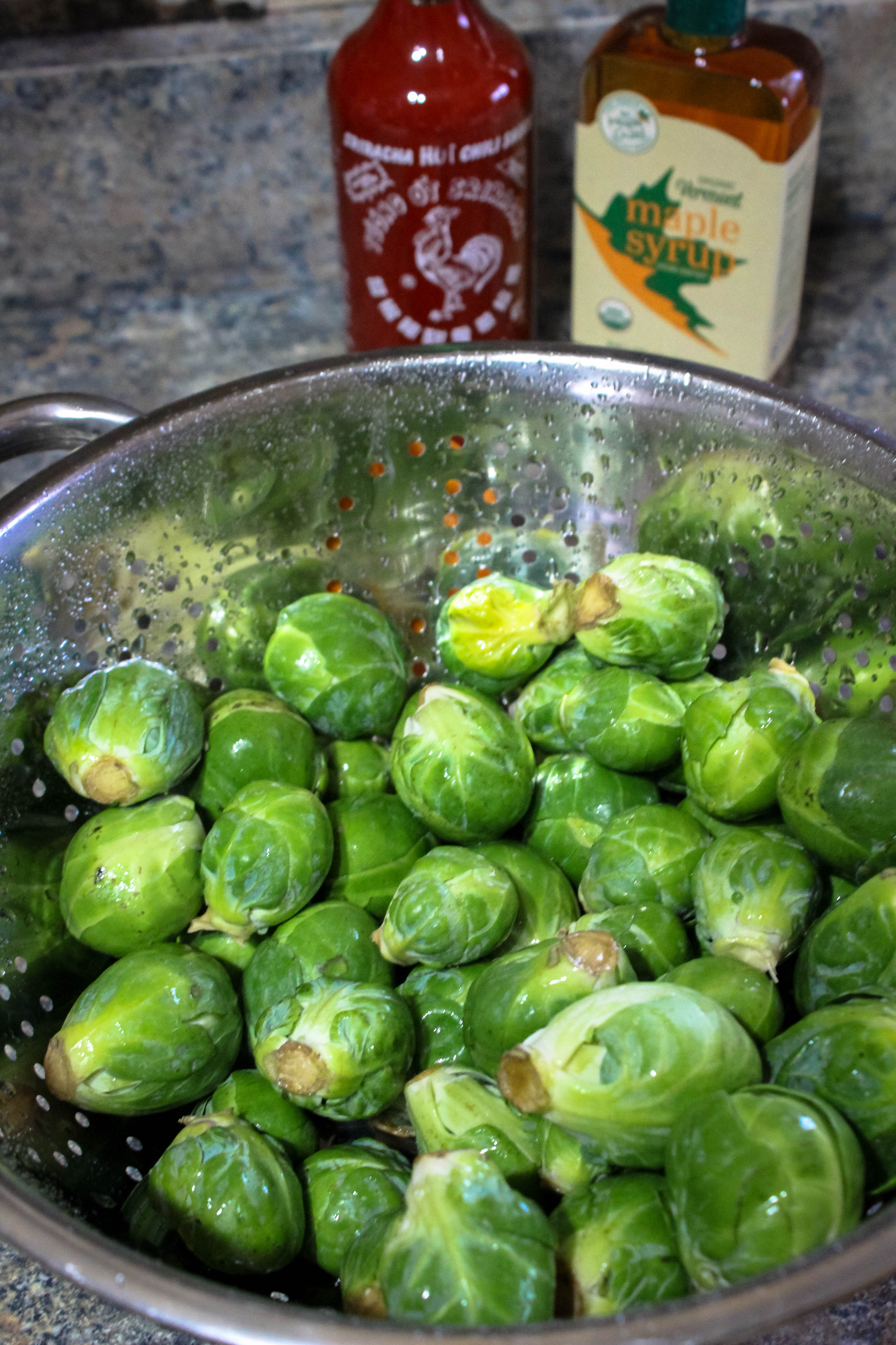 maple sriracha brussels sprouts