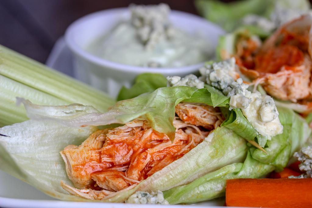 Buffalo Chicken Lettuce Wraps + Avocado Blue Cheese Dip