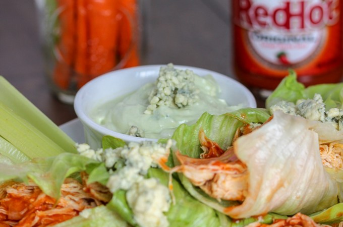 Buffalo Chicken Lettuce Wraps + Avocado Blue Cheese Dip