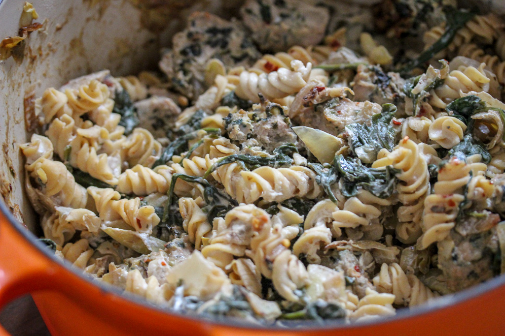 Spinach Artichoke Greek Yogurt Pasta + Turkey Meatballs