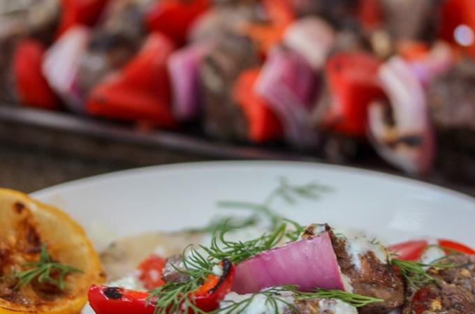 Greek Steak Kabobs with Tzatziki