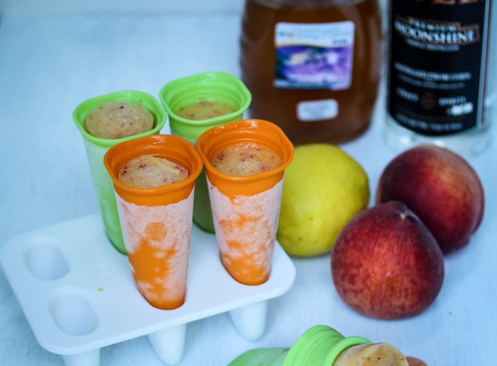 Boozy Peach Lemonade Pops