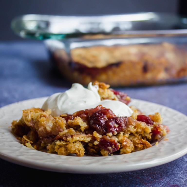 gluten-free cherry crumble
