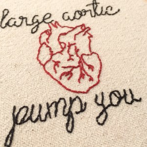 """I Large Aortic Pump You Funny Embroidery Wall Hanging Wall Hoop Set because nothing says """"I love you"""" like an anatomical heart hand stitched onto cotton fabric"""