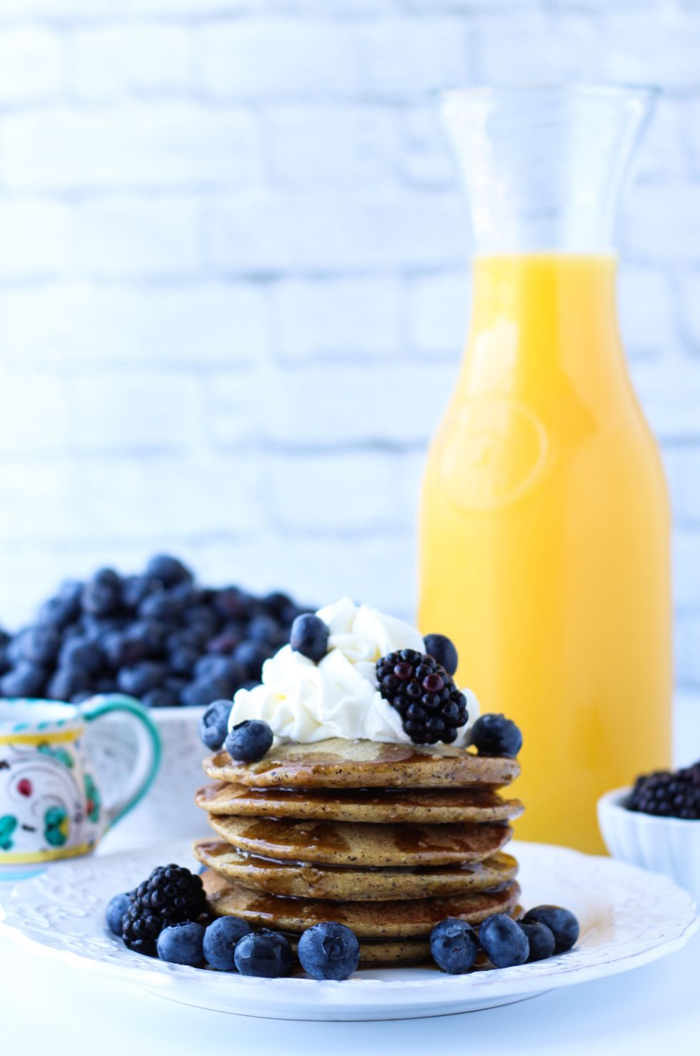 quinoa blender pancakes with homemade maple butter syrup