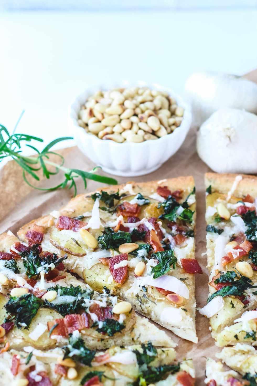 potato kale and rosemary pizza