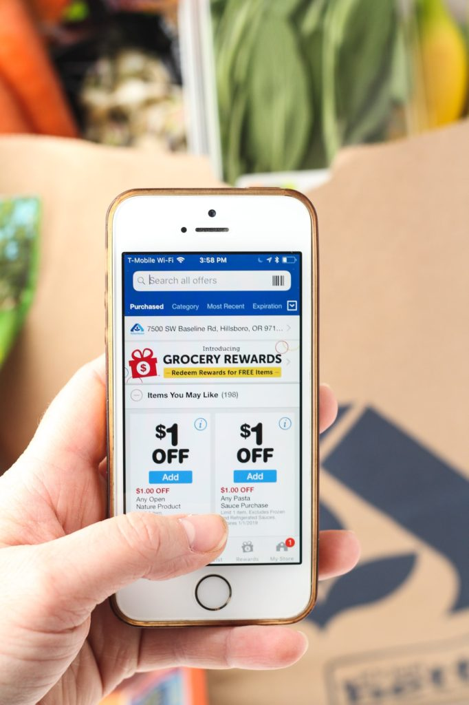 using the Albertsons app on my phone for coupons